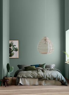 home decor bedroom Modern Earthy Home Decor: Soothing bohemian bedroom with soft pistachio green blue walls and rattan hanging lamp Bedroom Green, Green Rooms, Bedroom Wall Colors, Wall Colours, Green Bedroom Design, Interior Wall Colors, Bedroom Ideas Paint, Bedroom With Green Walls, Master Bedroom Color Ideas
