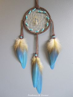 Dream Catcher Chocolate Brown Suede with Blue by FeathersandSinew, $25.00