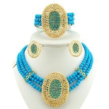 african beads jewelry set 18k gold jewelry sets  women necklace wholesale costume jewelry set