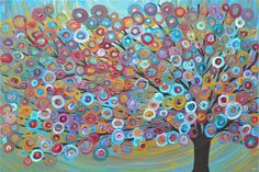 A4 Giclee Print - Teal, Gold, Red Tree Painting £12.50