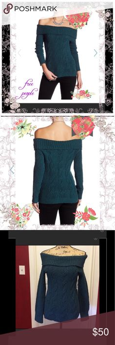 NWOT 🦉Free People Cable knit off shoulder sweater Sooo pretty new without tags -color is deep jade Free People Sweaters