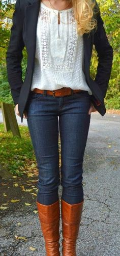 Adorable Outfit - Black Jacket and Jeans, Blouse and Long Boots with Suitable Belt