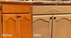 Updating a kitchen sink base cabinet with paint and a little decorative trim #TheKimSixFix