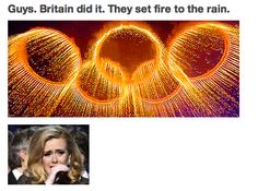 Guys, Brittian did it.  They set fire to the rain.