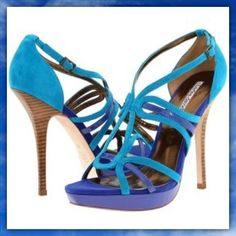 NIB Charles David Suede Sandals Beautiful never worn turquoise and royal blue suede platform sandals. Includes box. Charles David Shoes Sandals