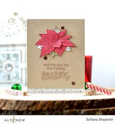 Simple holiday card with using of patterned paper. Details: http://craftwalks.com/2015/11/28/altenew-christmas-cards/
