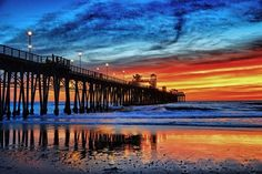 Fiery Sunset at the Oceanside Pier; CA