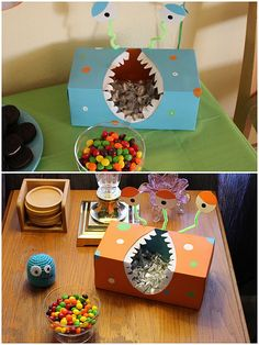 """This blogger has some cute deco ideas for a boy's birthday... I love this homemade monster """"candy"""" dish! My son is planning to make a version soon!"""