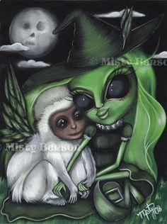 Wicked Witch Art Wizard of oz Flying Monkey Fantasy Moon Fairy Tale Gothic 13x19 | eBay