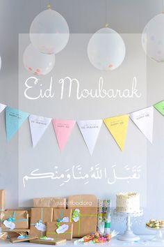 Eid moubarak + Piñata cake Eid Crafts, Ramadan Crafts, Ramadan Decorations, Eid Mubarak Greeting Cards, Eid Mubarak Greetings, Fest Des Fastenbrechens, Eid Wallpaper, Aid El Fitr, Muslim Greeting