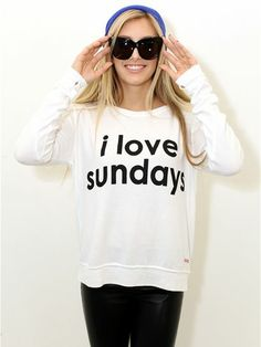 "Peace Love World ""I Love Sundays"" sweatshirt-"