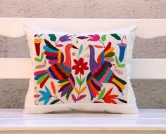 Multi Colored Folk Art Pillow Sham-Otomi Embroidery Ready to ship.. $45.00, via Etsy.
