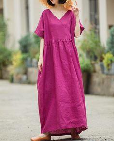 Summer linen dress, Comfortable Rose purple dress, maxi dress, linen maxi dress with pockets, plus size dress, linen kaftan Kaftan, Summer Dresses For Women, Purple Dress, Minimalist Dresses, Short Sleeve Dresses, Dresses With Sleeves, Fashion Sewing, Women's Fashion, Pockets