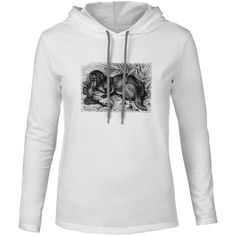 Mintage Otter with Fish Mens Fine Jersey Hooded T-Shirt