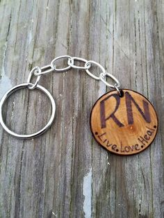 RN keyring wood burning pyrography by jamiewithtwins on Etsy https://www.etsy.com/listing/235569838/rn-keyring-wood-burning-pyrography