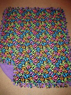 Neon Skulls w/ Deep Lavender back Fleece Tie Blanket