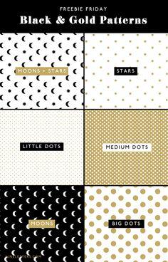 Black & Gold Seamless Patterns (free download!) || June Letters Studio