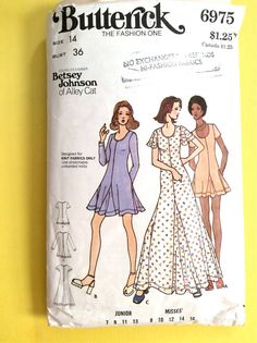fe6663933 Butterick 6975 Betsey Johnson Designer 70s Pattern Fit and Flare Dress with  Godet Insets, Scoop Neckline Vintage Sewing Pattern Bust 36