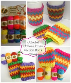 Knit these Colorful Coffee Cozies with my free pattern that utilized Bonbons from Lion Brand yarn. These are a great quick knitted gift. Crochet Coffee Cozy, Crochet Cozy, Crochet Yarn, Knitting Yarn, Baby Knitting, Vintage Knitting, Crochet Granny, Free Knitting, Free Crochet