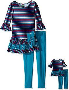 6d03bb618c71 Dollie & Me Big Girls' Knit Stripe Drop Waist Dress with Knit Legging,  Teal/Purple, Short sleeve striped knit drop waist mini dress with tiered  ruffle hem ...