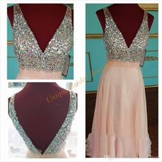 2016 Beautiful Blush Prom Dresses With Plunging Neckline And Backless Real Picture Big Crystals Sequins Custom Guest Gowns Floor Length Elegant Prom Dresses 2015 Fast Shipping Prom Dresses From Uniquebridalboutique, $143.52  Dhgate.Com