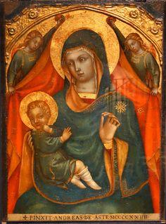 Андреа де Aste - Мадонна с младенцем с двумя ангелами.  1424