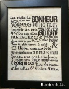 Jolie idée… Cross Stitch Embroidery, Cross Stitch Patterns, Silhouette Machine, Positive Mind, Happy Thoughts, Bullet Journal, Messages, Words, Diy