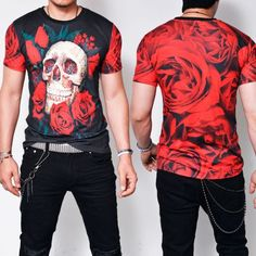 Slim Fit Skull Red Rose Round-Tee 749 - that should be mine!