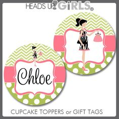 Personalized Hot Pink & Lime Green Mod Mom Version 2 Cupcake Toppers or Gift Tags for Girls Baby Shower by HeadsUpGirls, $8.00