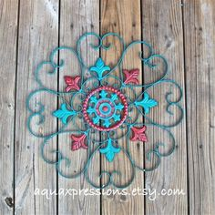 Metal Wall Decor/ Teal Blue/ Red Distressed by AquaXpressions, $42.99    20x20