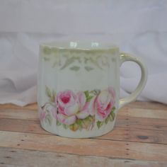 Large German mug with pink shabby chic roses by TheCastOffQueen