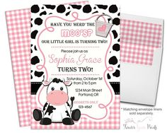 Just another WordPress site Cow Birthday Parties, Girl Birthday Themes, Farm Birthday, Birthday Ideas, Construction Birthday Invitations, 2nd Birthday Invitations, Party Invitations, Marceline, Farm Party