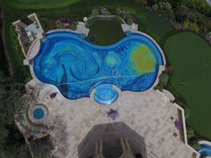 Damn Rich People: Private Pool With Van Gogh Starry Night Mosaic Vincent Van Gogh, Gogh The Starry Night, Nifty Diy, Popular Paintings, Aerial Images, Golden Star, Fan Art, Pool Designs, Private Pool