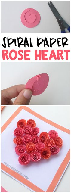 Learn how to make paper spiral roses! Sweet rose heart card for a valentines day craft. Fun art project for kids.
