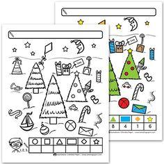 Fichiers PDF téléchargeables En noir et blanc (corrigé en couleurs) Taille d'une page: 8,5 X 11 po. 1 page par fichier Niveaux: Maternelle et 1re année L'enfant compte les formes qu'il observe. Il inscrit ses réponses dans le tableau au bas de la page. Il peut également colorier les formes de couleurs différentes afin de les compter plus facilement, tel que montré dans le corrigé.