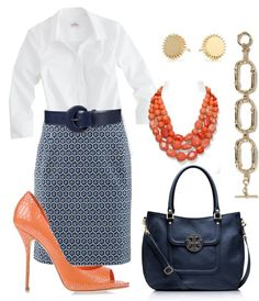 """""""Coral, navy blue,  white work outfit"""" by justinebettag on Polyvore..."""