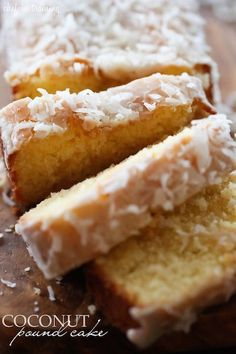 This pound cake is SO moist and so delicious! It will quickly become a new favorite! Add coconut + flavoring to GF Lemon Pound Cake Beaux Desserts, Just Desserts, Delicious Desserts, Dessert Recipes, Yummy Food, Coconut Pound Cakes, Pound Cake Recipes, Gateaux Cake, Coconut Recipes