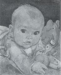 sample artwork by artist. Baby with toy duckaskart.com