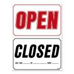 33 in. x 22 in. Red Open - Black Closed on White Plastic Sign, White With Black And Red