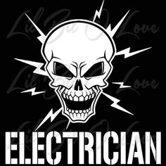 Electrician Skull with Electric Bolts Vinyl Decal Sticker Vehicle | LilBitOLove - Housewares on ArtFire