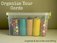cord control - toilet paper rolls and decorative duct tape (could also mod podge decorative paper) . Brilliant as well as cute idea for many other things around the house! Cord Storage, Cord Organization, Home Organisation, Smart Storage, Storage Ideas, Cable Storage, Household Organization, Shoe Organizer, Organize Your Life