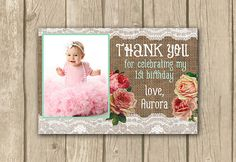 photo thank you card, PRINTABLE, burlap thank you card, shabby chic, thank you card with photo, baby girl thank you, proof in 2 working days on Etsy, $15.00
