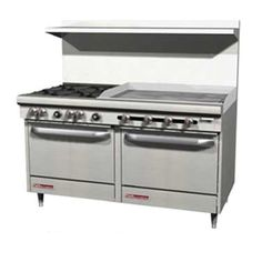 60  S-Series Gas Resturant Range- 4 Burners, Two Standard Ovens and 36  Griddle