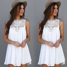 Gender: Women Decoration: Lace Waistline: Natural Sleeve Style: Regular Pattern Type: Solid Style: Casual Material: Polyester,Lace Season: Summer Dresses Length: Above Knee, Mini Neckline: O-Neck Silh