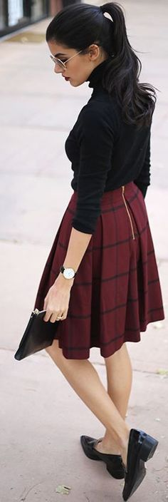 Checkered Print Midi Skirt Fall Street Style Inspo by Simply hued