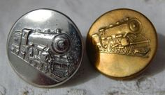 Two Vintage Locomotive Buttons