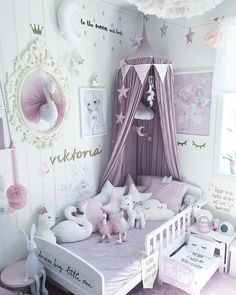 Cute Baby Girl Room Ideas (Adorable Space Ever Adorable Girl's bedroom decor, pale purple and white. -Adorable Girl's bedroom decor, pale purple and white. Baby Bedroom, Baby Room Decor, Nursery Room, Girls Bedroom, Canopy Bedroom, Kid Bedrooms, Room Baby, Playroom Decor, Girl Bedroom Decorations