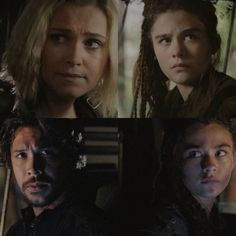 Clarke and Bellamy with Madi in the family rover.