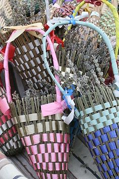 French lavender baskets. Similar to lavender bottles or wands, except the floral part is not concealed and the stems fold upward and are not sealed above the lavender blossoms.