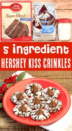 Christmas Cookies Recipes Easy Chocolate Cake Mix Crinkle Hershey Kiss Cookie Re. Chocolate Kiss Cookies, Chocolate Cookie Recipes, Chocolate Cake Mixes, Oreo Desserts, Chocolate Chocolate, Chocolate Desserts, Cake Mix Cookie Recipes, Chip Cookie Recipe, Easy Cheesecake Recipes